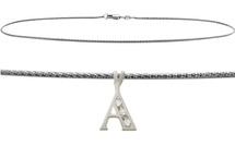 Diamond Initial 10 Karat White Gold CHOOSE YOUR LETTER Snake Anklet