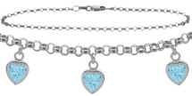 10 Karat White Gold CHOOSE YOUR STONE Cable 3 Heart Charm Anklet