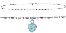 Sterling Silver CHOOSE YOUR STONE Bead Heart Charm Anklet