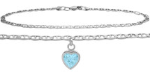 Sterling Silver CHOOSE YOUR STONE Flat Gucci Heart Charm Anklet