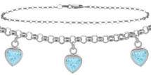 Sterling Silver CHOOSE YOUR STONE Cable 3 Heart Charm Anklet