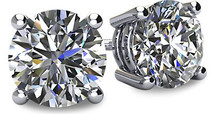 14 Karat White Gold I2 Clarity Screwback Round Brilliant Cut Certified Diamond Earrings