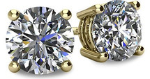 14 Karat Yellow Gold I2 Clarity Screwback Round Brilliant Cut Certified Diamond Earrings