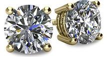14 Karat Yellow Gold I2 Clarity Screwback Round Brilliant Cut Certified Diamond Earrings
