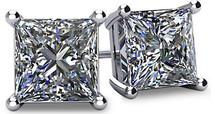 14 Karat White Gold SI1-SI2 Clarity Screwback Princess Cut Brilliant Certified Diamond Earrings