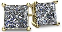 14 Karat Yellow Gold SI1-SI2 Clarity Screwback Princess Cut Brilliant Certified Diamond Earrings