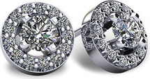 14 Karat White Gold I1-I2 Clarity Halo Round Brilliant Cut Diamond Earrings