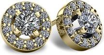 14 Karat Yellow Gold I1-I2 Clarity Halo Round Brilliant Cut Diamond Earrings