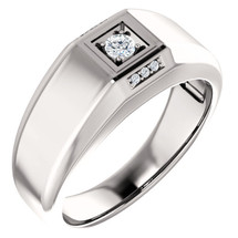 Men's Genuine Sterling Silver 7 Stone Diamond Ring