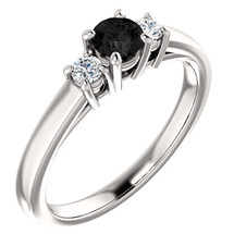 14 Karat White Gold 4mm Round Black Diamond Ring