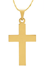 14 Karat Yellow Gold CHOOSE YOUR CROSS SIZE Thick Cross