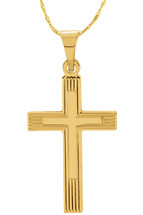 14 Karat Yellow Gold CHOOSE YOUR CROSS SIZE Etched Cross