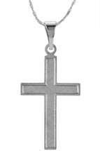 14 Karat White Gold CHOOSE YOUR CROSS SIZE Brushed Finish Cross
