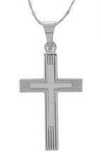 14 Karat White Gold CHOOSE YOUR CROSS SIZE Etched Cross
