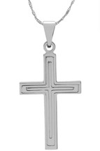 14 Karat White Gold CHOOSE YOUR CROSS SIZE Detailed Cross