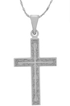 14 Karat White Gold CHOOSE YOUR CROSS SIZE Ornate Cross