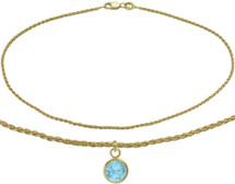 10 Karat Yellow Gold CHOOSE YOUR STONE Wheat Round Charm Anklet