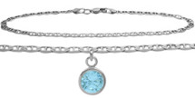 10 Karat White Gold CHOOSE YOUR STONE Flat Gucci Round Charm Anklet