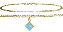 10 Karat Yellow Gold CHOOSE YOUR STONE Gucci Square Charm Anklet