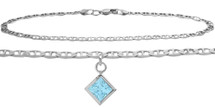 Sterling Silver CHOOSE YOUR STONE Flat Gucci Square Charm Anklet