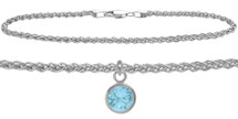 Sterling Silver CHOOSE YOUR STONE Wheat Round Charm Anklet