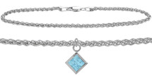 Sterling Silver CHOOSE YOUR STONE Wheat Square Charm Anklet