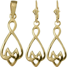 10 Karat Yellow Gold Celtic Drop Pendant & Earring Set