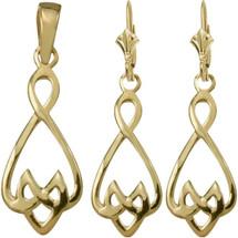 10 Karat Yellow Gold Celtic Drop Pendant & Earring Set