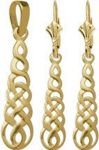 10 Karat Yellow Gold Celtic Drop Earring & Pendant Set