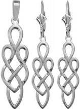 Celtic 10 Karat White Gold Earring & Pendant Set