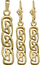 Celtic 10 Karat Yellow Gold Drop Earring & Pendant Set