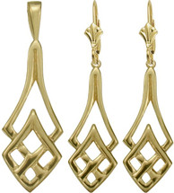 Celtic 10 Karat Yellow Gold Celtic Pendant & Earring Set