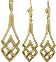 Celtic 10 Karat Yellow Gold Celtic Pendant & Earring Set