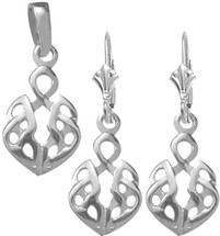 Genuine Sterling Silver Celtic Pendant & Earring Set