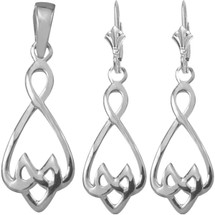 Genuine Sterling Silver Celtic Drop Pendant & Earring Set