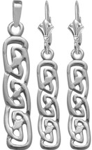 Celtic Genuine Sterling Silver Drop Earring & Pendant Set