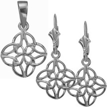 Celtic Knot 10 Karat White Gold Pendant & Earring Set