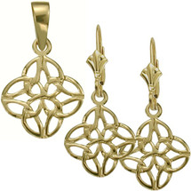 Celtic Knot 10 Karat Yellow Gold Pendant & Earring Set