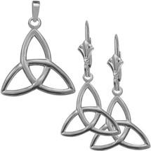 10 Karat White Gold Trinity Knot Pendant & Earring Set