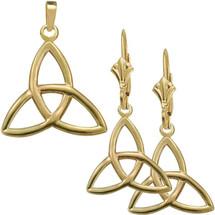 10 Karat Yellow Gold Trinity Knot Pendant & Earring Set