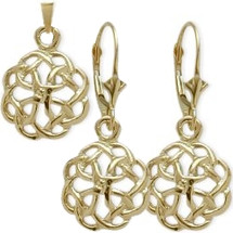 10 Karat Yellow Gold Celtic Knot Earring & Pendant Set