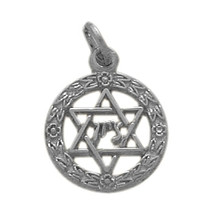 10 Karat White Gold Star of David Jewish Pendant