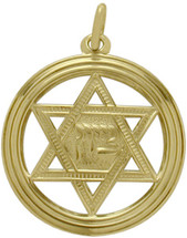 14 Karat Yellow Gold Large Round Star Of David Pendant