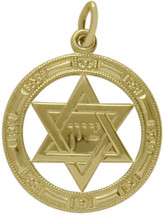 14 Karat Yellow Gold Star of David Round Pendant