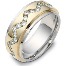 Titanium & Gold Designer 37 Diamond SPINNING Eternity Wedding Ring