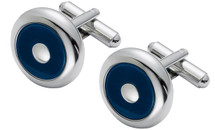 Stainless Steel Blue Cat Eye Round Cuff Links
