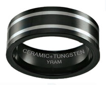 8mm Black Ceramic with 2 Lines of Tungsten Flat Ring