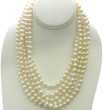 80 Inch White Freshwater Pearl Round Strand Necklace