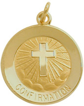 14 Karat Gold High Polish Religious Confirmation Medallion