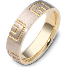 Designer 14 Karat Two-Tone Gold Multi Texture Unique Wedding Ring